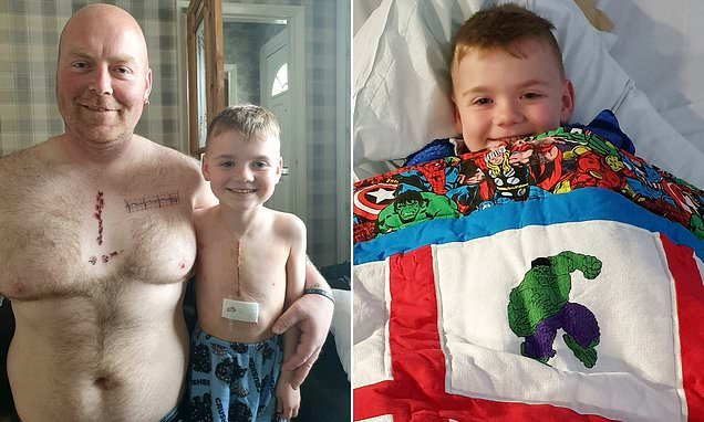 Father gets matching tattoo of his six-year-old son's six inch scar