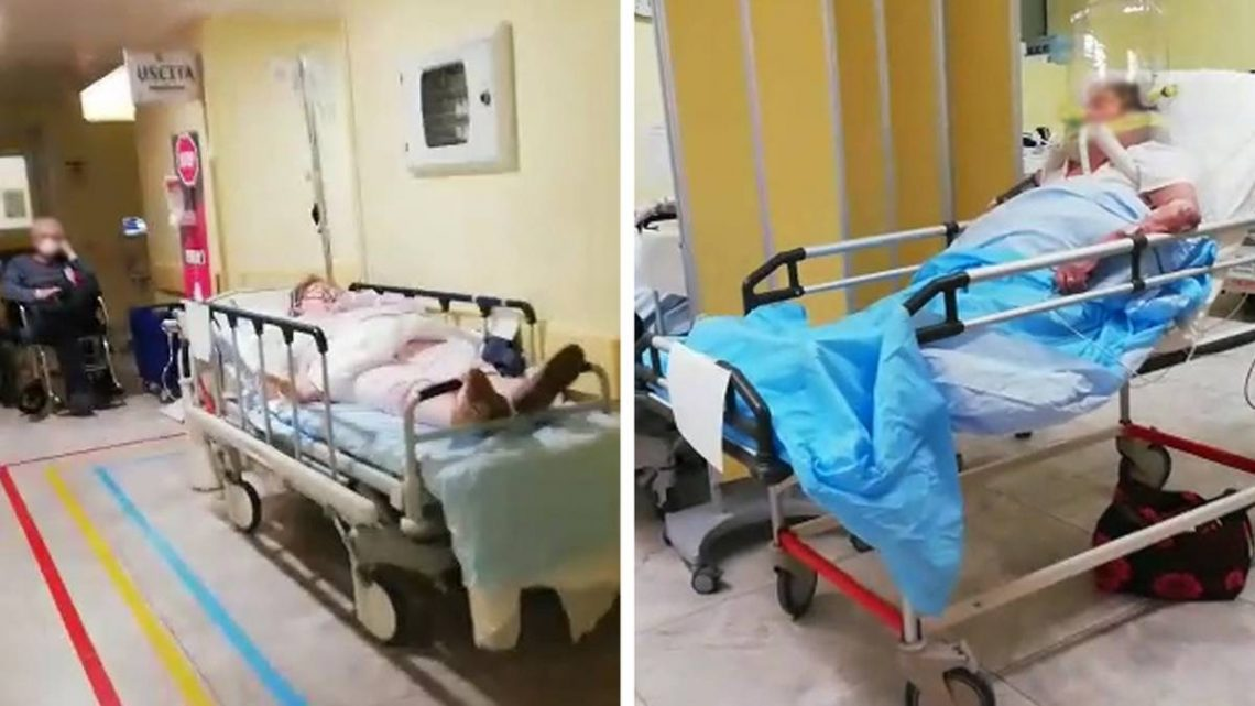 Patients in the corridor: the Video is intended to show the dramatic conditions in an Italian hospital