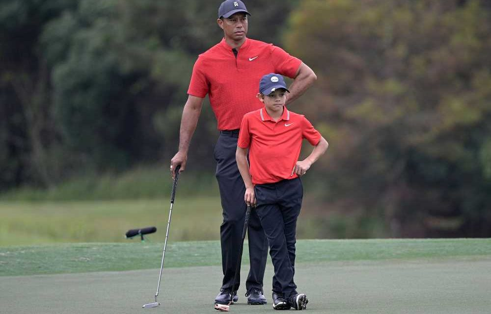 Seeing Double! Tiger Woods and Son Charlie, 11, Look Exactly Alike in Sweet Copycat Golf Video